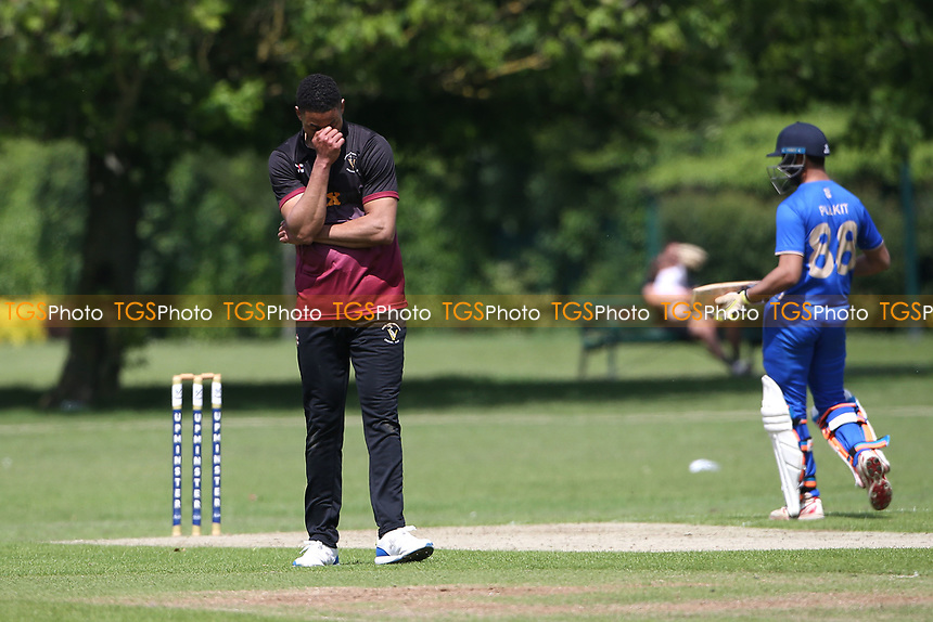 Frustration for Q Daniel of Fives as a catch goes down during Upminster CC vs Fives & Heronians CC, Hamro Foundation Essex League Cricket at Upminster Park on 5th June 2021