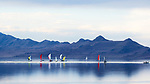 Great Salt Lake, Utah.  Viewed from Great Salt Lake State Park, Salt lake City area.  Sailing regatta on calm waters.  Anelope Island in background.