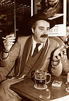 File photo circa 1988.<br /> <br /> Nick Auf Der Mar photographed giving an interview, in a donwtown bar, while smoking and drinking beer<br /> <br /> A City councillor for Peter McGill disctrict has well as a journalist and columnist, he died of cancer  april 7th 1998, at age 55.<br /> <br /> His daughter Melissa Auf Der Maur achieved fame and fortune as bass guitar player for Hole, the band fronted by Courtney Love.<br /> <br /> <br /> photo (c)  Images Distribution