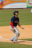 Salem Red Sox infielder Chad De La Guerra (18) leading off third base during a game against the Down East Wood Ducks at Grainger Stadium on April 16, 2017 in Kinston, North Carolina. Salem defeated Down East 9-2. (Robert Gurganus/Four Seam Images)