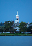 St Michaels church steeple after sunset from the charleston harbor and waterfront park south carolina