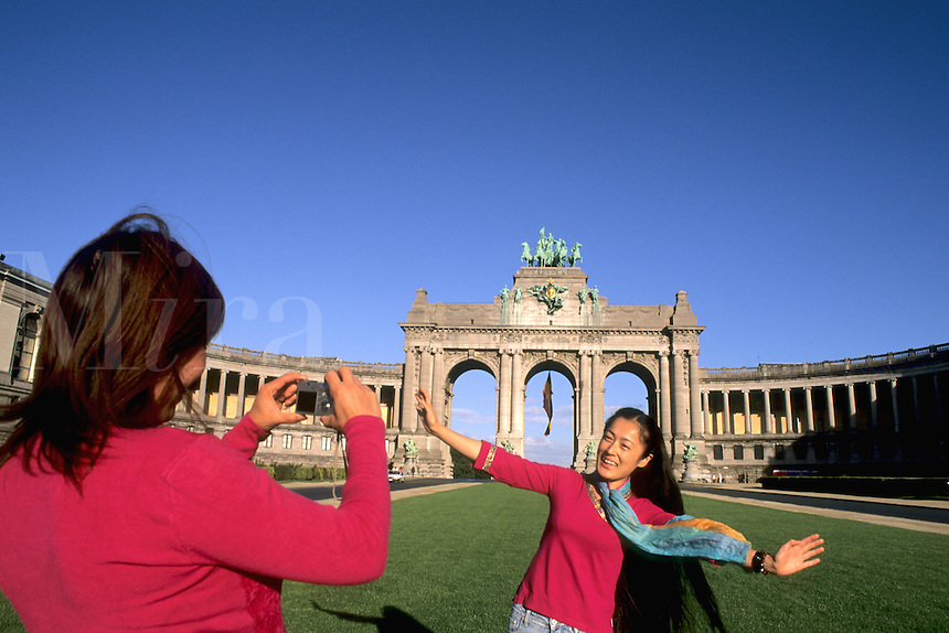 Belgium Brussels Arch of Cinquatenaire colorful monument in Belgium with Chinese tourists and camera