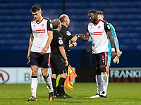 Bolton Wanderers' Ricardo Santos bumps fist with the officials at the end of the match <br /> <br /> Photographer Andrew Kearns/CameraSport<br /> <br /> The EFL Sky Bet League Two - Bolton Wanderers v Mansfield Town - Tuesday 3rd November 2020 - University of Bolton Stadium - Bolton<br /> <br /> World Copyright © 2020 CameraSport. All rights reserved. 43 Linden Ave. Countesthorpe. Leicester. England. LE8 5PG - Tel: +44 (0) 116 277 4147 - admin@camerasport.com - www.camerasport.com