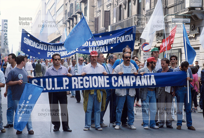- Palermo, demonstration against the mafia organized by the labor unions, adherents to police labor union SIULP ....- Palermo, manifestazione contro la mafia organizzata dal sindacato sindacati, aderenti al sindacato di polizia SIULP
