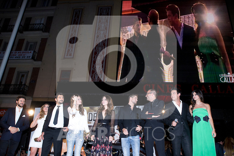 20.06.2012. Premier in the Callao cinema in Madrid in the ´Tengo Ganas de Ti´,  directed by Fernando Gonzalez Molina and starring Mario Casas, Clara Lago and Maria Valverde. In the image Diego Martin, Marina Salas, Antonio Velazquez, Nerea Camacho, Maria Valverde, Luis Fernandez, Fernando Gonzalez Molina, Mario Casas and Clara Lago (Alterphotos/Marta Gonzalez)