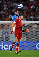 Calcio, Serie A: AS Roma vs SSC Napoli, Olympic stadium, October 24, 2021.<br /> Roma's capitain Lorenzo Pellegrini (R) in action with Napoli's Amir Rrahmani (L) during the Italian Serie A football match between Roma and Napoli at Rome's Olympic stadium, on , October 24, 2021. <br /> UPDATE IMAGES PRESS/Isabella Bonotto