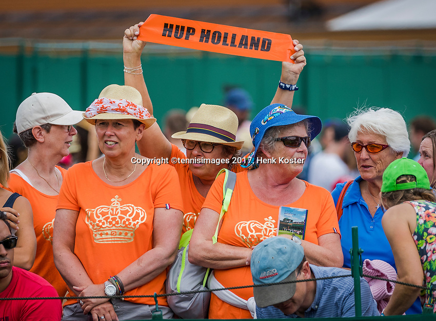 London, England, 4 th July, 2017, Tennis,  Wimbledon, Dutch supporters at the match of Kiki Bertens (NED)<br /> Photo: Henk Koster/tennisimages.com