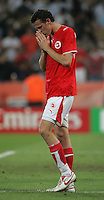Swiss forward (11) Marco Streller reacts to missing a penalty kick.  Ukraine defeated Switzerland on penalty kicks in their FIFA World Cup round of 16 match at FIFA World Cup Stadium in Cologne, Germany, June 26, 2006.