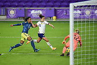 ORLANDO, FL - JANUARY 18: Carli Lloyd #10 of the United States of the United States moves to the ball during a game between Colombia and USWNT at Exploria Stadium on January 18, 2021 in Orlando, Florida.