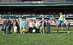 April 12, 2014: #9 Hard Not to Like and jockey Javier Castellano win the Jenny Wiley Grade 1 $300,000 at Keeneland racecourse on the inside of a 5 horse photo finish for owner Hillsbrook Farms and trainer Michael Matz .  Candice Chavez/ESW/CSM