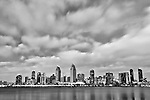 Black and white image of San Diego skyline from Coronado Island.  Taken in infrared.