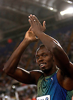 Golden Gala di atletica leggera allo stadio Olimpico di Roma, 6 giugno 2013.<br /> Jamaica's Usain Bolt applauds to fans after competing in the men's 100 meters race at the Golden Gala IAAF athletics meeting at Rome's Olympic stadium, 6 June 2013.<br /> UPDATE IMAGES PRESS/Isabella Bonotto