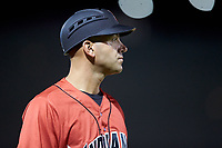 Indianapolis Indians manager Brian Esposito (5) coaches third base during the game against the Charlotte Knights at BB&T BallPark on May 26, 2018 in Charlotte, North Carolina. The Indians defeated the Knights 6-2.  (Brian Westerholt/Four Seam Images)