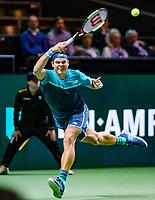 Rotterdam, The Netherlands, 12 Februari 2019, ABNAMRO World Tennis Tournament, Ahoy, first round singles: Milos Raonic (CAN),<br /> Photo: www.tennisimages.com/Henk Koster