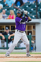 Rey Navarro (1) of the Louisville Bats at bat against the Charlotte Knights at BB&T Ballpark on June 26, 2014 in Charlotte, North Carolina.  The Bats defeated the Knights 6-4.  (Brian Westerholt/Four Seam Images)