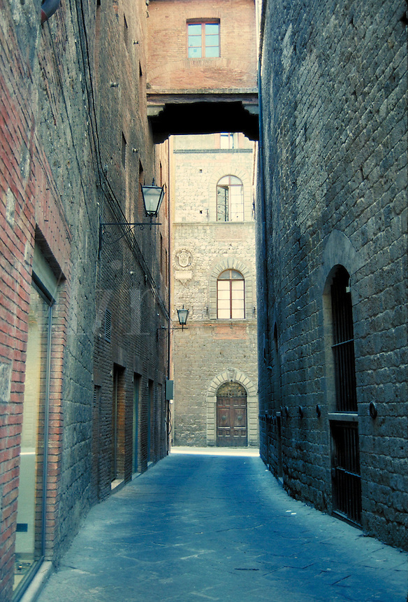 Architectural detail of a narrow street. Florence, Italy Europe.