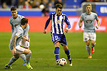 Deportivo Alaves' Ibai Gomez (c) and Celta de Vigo's Nemanja Radoja (l), Hugo Mallo (2-l) and Daniel Wass during Spanish Kings Cup semifinal 2nd leg match. February 08,2017. (ALTERPHOTOS/Acero)