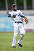 West Michigan Whitecaps second baseman Jeremiah Burks (7) warms up before the game against the Bowling Green Hot Rods on May 21, 2019 at Fifth Third Ballpark in Grand Rapids, Michigan. The Whitecaps defeated the Hot Rods 4-3.  (Andrew Woolley/Four Seam Images)