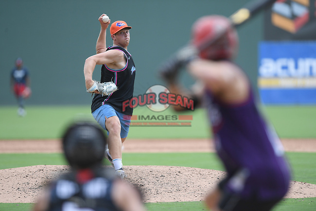 """Chicago White Sox minor league pitcher John Parke pitches in a """"Sandlot""""-style game concluding a series of workouts with local MLB and MiLB players from around the Upstate region on Thursday June 25, 2020, at Fluor Field at the West End in Greenville, South Carolina. Parke was drafted out of South Carolina. (Tom Priddy/Four Seam Images)"""