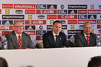 (L-R) FAW President David Griffiths, Ryan Giggs and Jonathan Ford speak to members of the press during the Wales Unveiling  Of The New Manager at Hensol Castle, Vale of Glamorgan, Wales, UK. Monday 15 January 2018