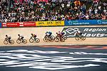 Small peloton on the velodrome during the 2018 Paris-Roubaix race, Velodrome Roubaix, France, 8 April 2018, Photo by Thomas van Bracht / PelotonPhotos.com | All photos usage must carry mandatory copyright credit (Peloton Photos | Thomas van Bracht)