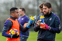 Tuesday 17 January 2017<br /> Pictured: Kristoffer Nordfeldt of Swansea City and Matrin Olsson of Swansea City chat during training<br /> Re:Swansea City training session at the Fairwood Training ground, Fairwood, Swansea, Wales, UK