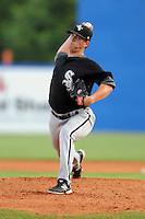 Bristol White Sox starting pitcher Thaddius Lowry #33 delivers a pitch during a game against the Kingsport Mets at Hunter Wright Stadium on August 15, 2013 in Kingsport, Tennessee. The White Sox won the game 4-2. (Tony Farlow/Four Seam Images)