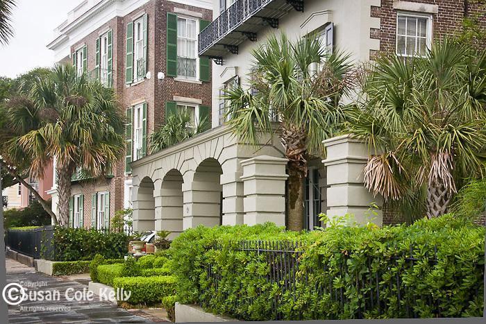 Stately antebellum mansions on The Battery, Charleston, SC, a National Historic Landmark district.