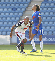 Bolton Wanderers' Alex Baptiste prepares to celebrate but his second half header was ruled out for offside<br /> <br /> Photographer Rob Newell/CameraSport<br /> <br /> The EFL Sky Bet League Two - Colchester United v Bolton Wanderers - Saturday 19th September 2020 - Colchester Community Stadium - Colchester<br /> <br /> World Copyright © 2020 CameraSport. All rights reserved. 43 Linden Ave. Countesthorpe. Leicester. England. LE8 5PG - Tel: +44 (0) 116 277 4147 - admin@camerasport.com - www.camerasport.com