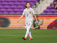 ORLANDO, FL - MARCH 05: Risa Shimizu #2 of Japan looks to the ball during a game between Spain and Japan at Exploria Stadium on March 05, 2020 in Orlando, Florida.