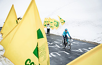Harold Tejada (COL/Astana - Premier Tech) coming over the Passo Giau<br /> <br /> due to the bad weather conditions the stage was shortened (on the raceday) to 153km and the Passo Giau became this years Cima Coppi (highest point of the Giro).<br /> <br /> 104th Giro d'Italia 2021 (2.UWT)<br /> Stage 16 from Sacile to Cortina d'Ampezzo (shortened from 212km to 153km)<br /> <br /> ©kramon