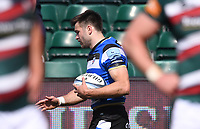 18th April 2021 2021; Recreation Ground, Bath, Somerset, England; English Premiership Rugby, Bath versus Leicester Tigers; Will Muir of Bath celebrates scoring a try