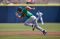 Evan Carter (11) of the Down East Wood Ducks takes off for second base during the game against the Kannapolis Cannon Ballers at Atrium Health Ballpark on May 9, 2021 in Kannapolis, North Carolina. (Brian Westerholt/Four Seam Images)