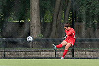 NEWTON, MA - AUGUST 29: Kaitlyn Mahoney #1 of University of Connecticut takes a goal kick during a game between University of Connecticut and Boston College at Newton Campus Soccer Field on August 29, 2021 in Newton, Massachusetts.