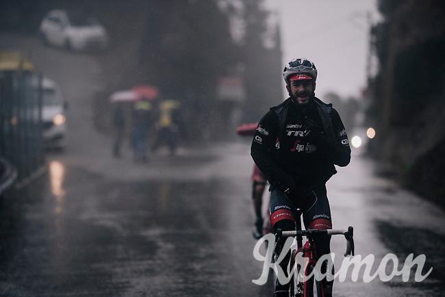 Julien Bernard (FRA/Trek-Segafredo) moving through the torrential rains<br /> <br /> 76th Paris-Nice 2018<br /> Stage 8: Nice > Nice (110km)