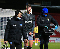 26th December 2020; Ewood Park, Blackburn, Lancashire, England; English Football League Championship Football, Blackburn Rovers versus Sheffield Wednesday; Joost van Aken of Sheffield Wednesday leaves the pitch escorted by medical staff after he was injured