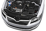 Car Stock 2014 Skoda SUPERB Active 5 Door Hatchback 2WD Engine high angle detail view