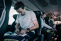 Adam Yates (GBR/Orica-Scott) prepping his #1 race number<br /> <br /> Il Lombardia 2017<br /> Bergamo to Como (ITA) 247km