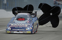 Feb. 12, 2012; Pomona, CA, USA; NHRA funny car driver Tony Pedregon during the Winternationals at Auto Club Raceway at Pomona. Mandatory Credit: Mark J. Rebilas-