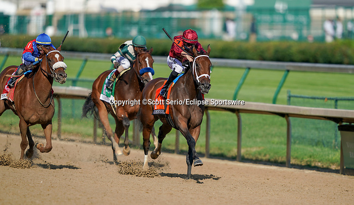 September 4, 2020: Sharesthedevil, #7, ridden by jockey Florent Geroux, wins the Longines Kentucky Oaks on Kentucky Oaks Day. The races are being run without fans due to the coronavirus pandemic that has gripped the world and nation for much of the year, with only essential personnel, media and ownership connections allowed to attend at Churchill Downs in Louisville, Kentucky. Scott Serio/Eclipse Sportswire/CSM