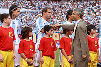 US Soccer Federation president Sunil Gulati shakes hands with Argentina defender Pablo Zabaleta (13) prior to the start of the match. The men's national teams of the United States and Argentina played to a 0-0 tie during an international friendly at Giants Stadium in East Rutherford, NJ, on June 8, 2008.