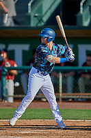 Andrew Shaps (14) of the Ogden Raptors at bat against the Idaho Falls Chukars at Lindquist Field on August 9, 2019 in Ogden, Utah. The Raptors defeated the Chukars 8-3. (Stephen Smith/Four Seam Images)