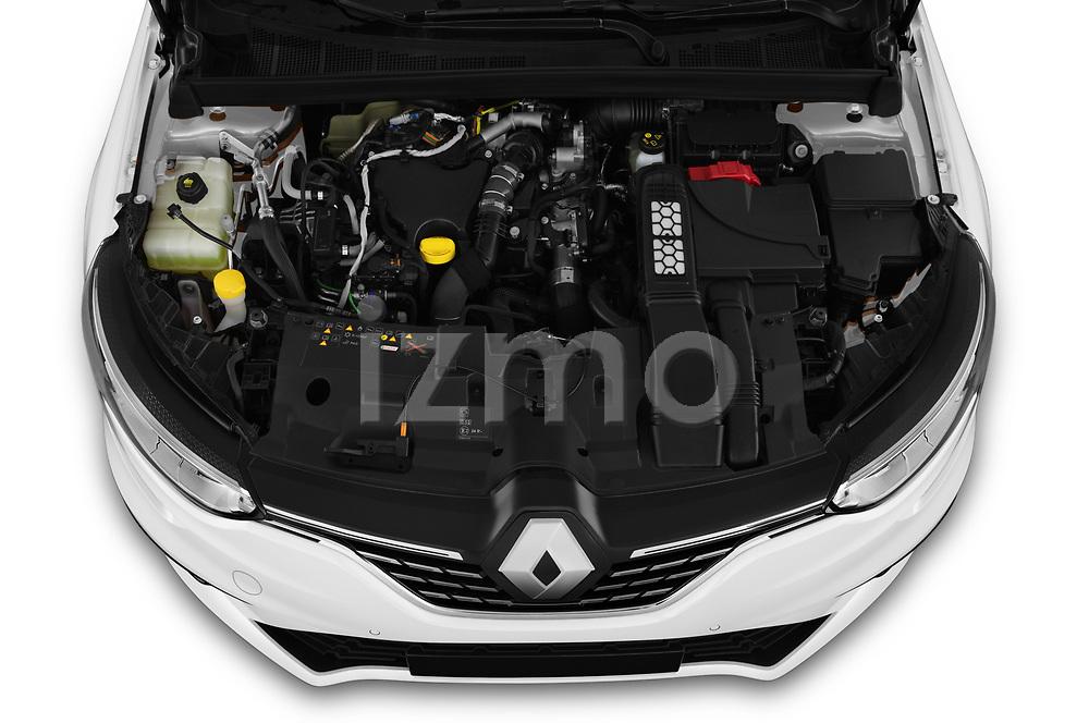 Car Stock 2020 Renault Megane-Estate Intens 5 Door wagon Engine  high angle detail view