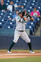 Daytona Tortugas shortstop Carlos Rivero (3) at bat during a game against the Tampa Tarpons on April 18, 2018 at George M. Steinbrenner Field in Tampa, Florida.  Tampa defeated Daytona 12-0.  (Mike Janes/Four Seam Images)