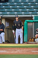 Preston Palmeiro (3) of the Salt Lake Bees waits to bat against the Tacoma Rainiers at Smith's Ballpark on May 13, 2021 in Salt Lake City, Utah. The Rainiers defeated the Bees 15-5. (Stephen Smith/Four Seam Images)