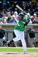 Dayton Dragons catcher Wagner Gomez #34 during a game against the Bowling Green Hot Rods on April 21, 2013 at Fifth Third Field in Dayton, Ohio.  Bowling Green defeated Dayton 7-5.  (Mike Janes/Four Seam Images)