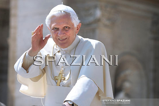 Pope Benedict XVI waves as he leaves his weekly general audience on April 21, 2010 at St Peter's square at The Vatican.