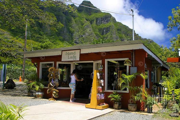 Lady Sings. A quaint gift shop located on the grounds of the Tropical Farms Macadamia Nut Farm Outlet. near Kualoa Ranch, east Oahu.