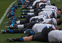 Duke football players warm up before the game. The Duke Blue Devils defeated the Pitt Panthers 51-48 at Heinz Field, Pittsburgh Pennsylvania on November 1, 2014.