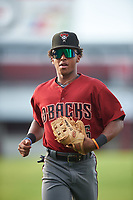 AZL D-backs second baseman Glenallen Hill Jr. (6) jogs off the field between innings of an Arizona League game against the AZL Cubs 1 on July 25, 2019 at Sloan Park in Mesa, Arizona. The AZL D-backs defeated the AZL Cubs 1 3-2. (Zachary Lucy/Four Seam Images)